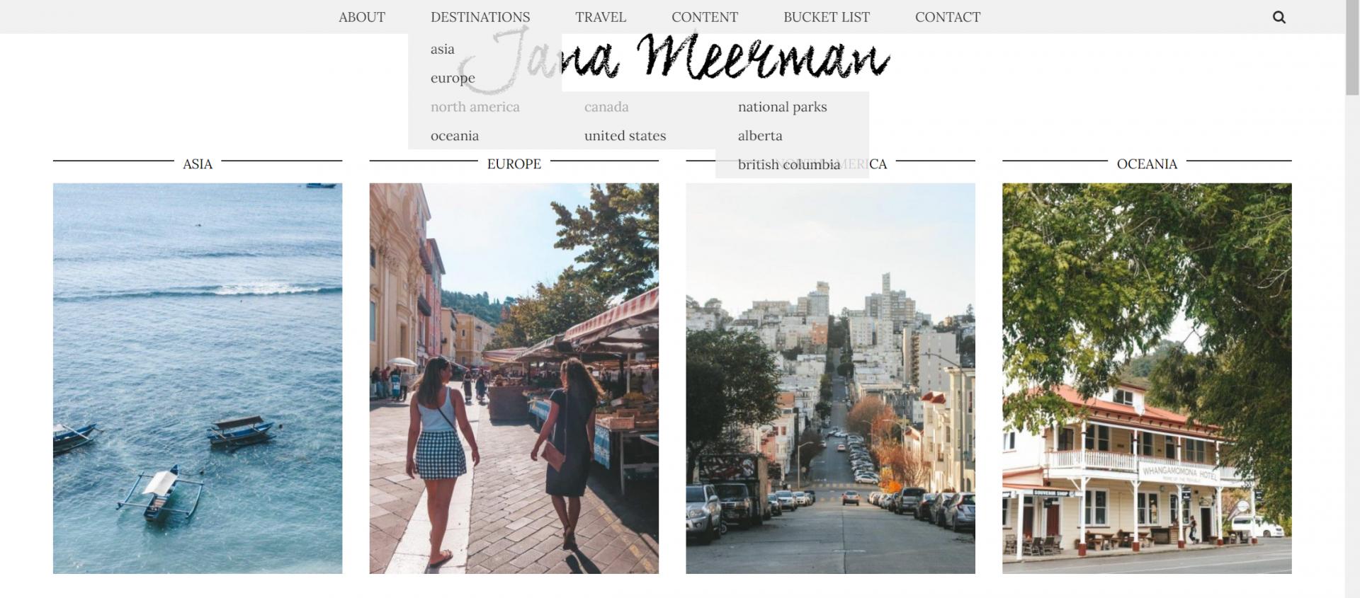 jana meerman website menu